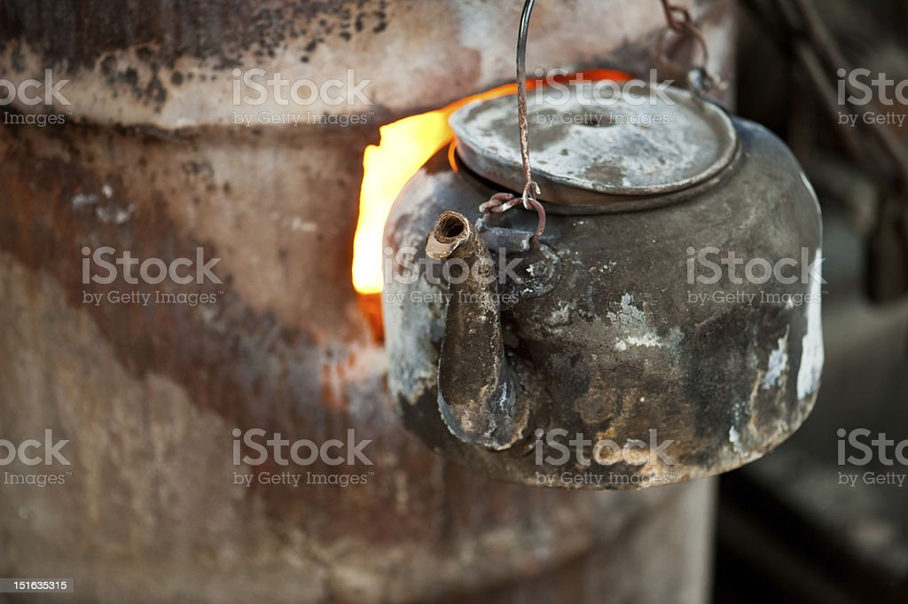 Flames boiling water outdoors royalty-free stock photo
