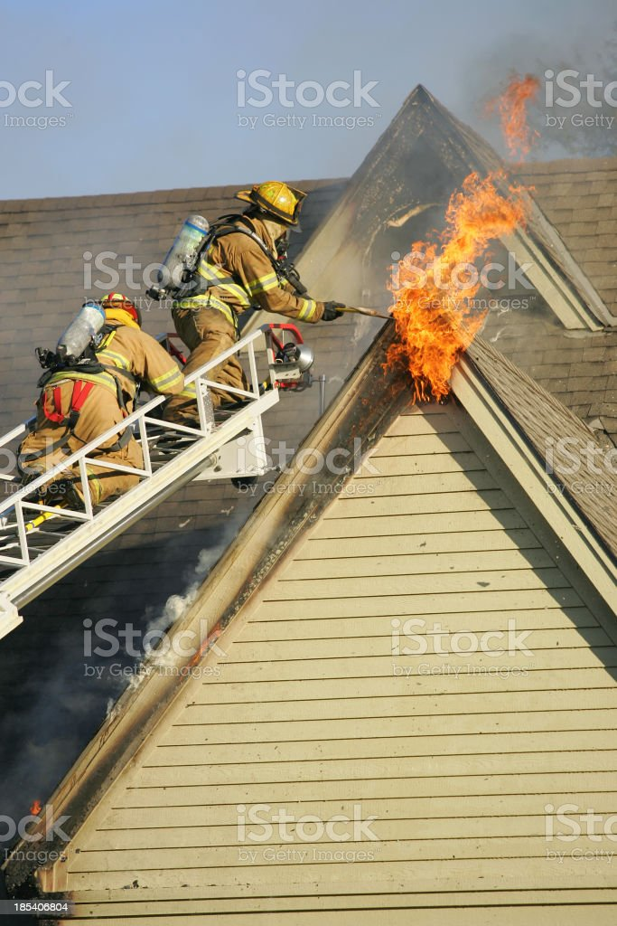 Flames from a house fire royalty-free stock photo