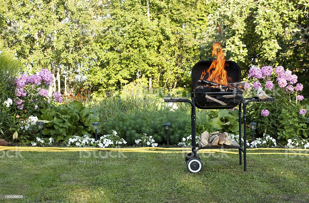 Flames in a barbecue royalty-free stock photo