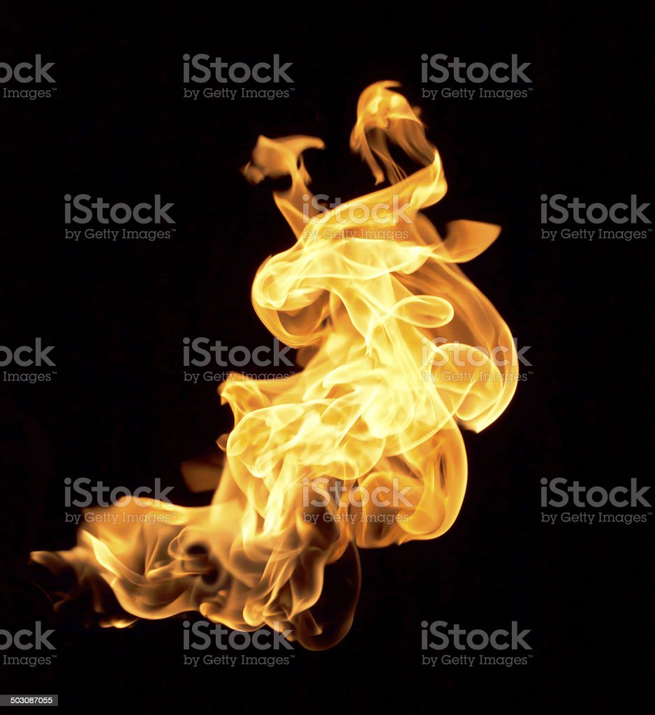 Flames on a black background. stock photo