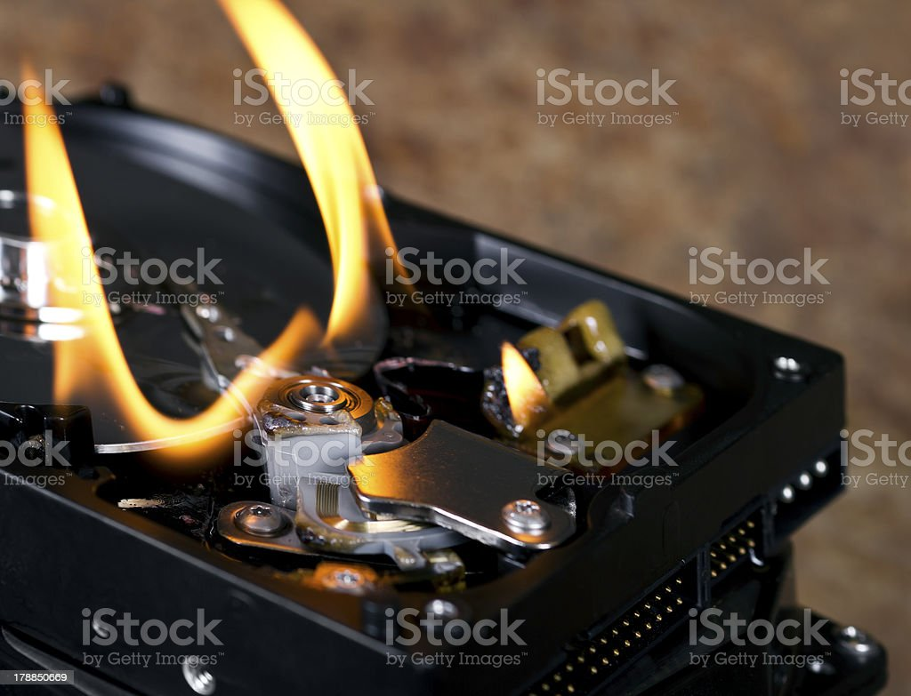 flames on open hard drive stock photo