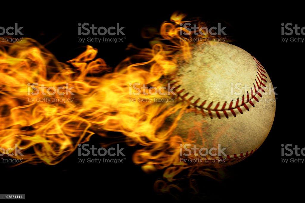 Flaming baseball stock photo