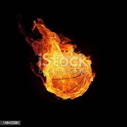 istock A flaming basketball hurtling toward the ground 148420361