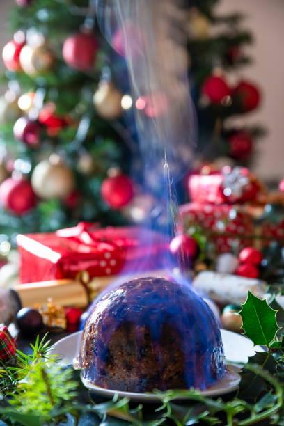 Flaming Christmas Pudding stock photo