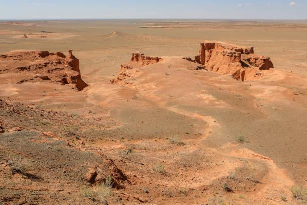 Flaming cliff of Bayanzag in the Desert of Gobi stock photo