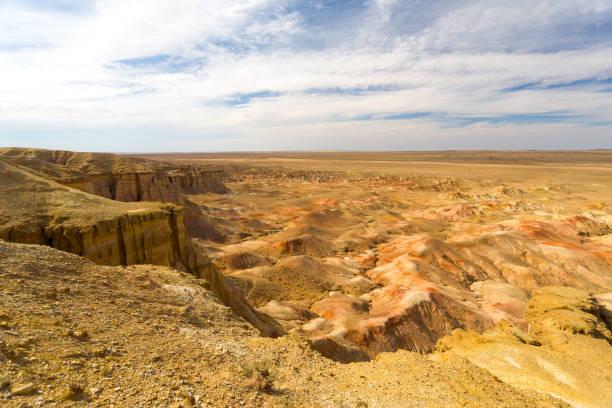 Flaming Cliffs Bayanzag Edge Gobi Desert Mongolia stock photo