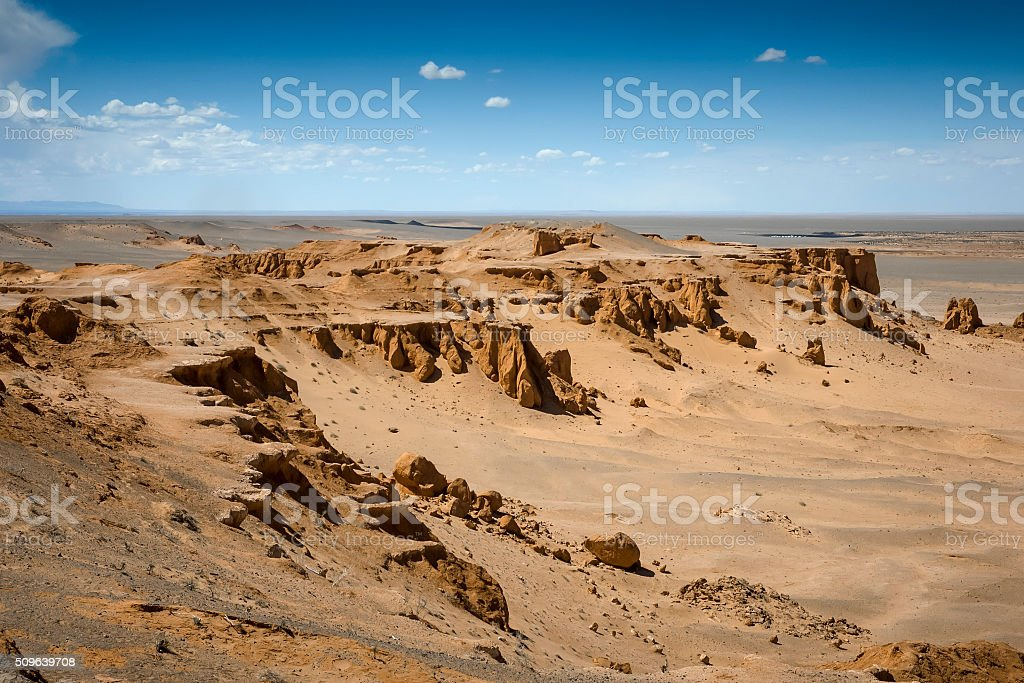 Flaming Cliffs Mongolia stock photo