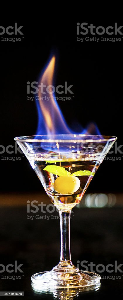 Flaming Cocktail stock photo