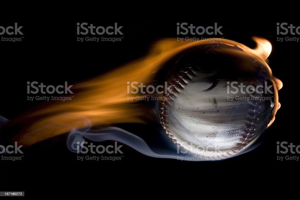 Flaming fastball stock photo