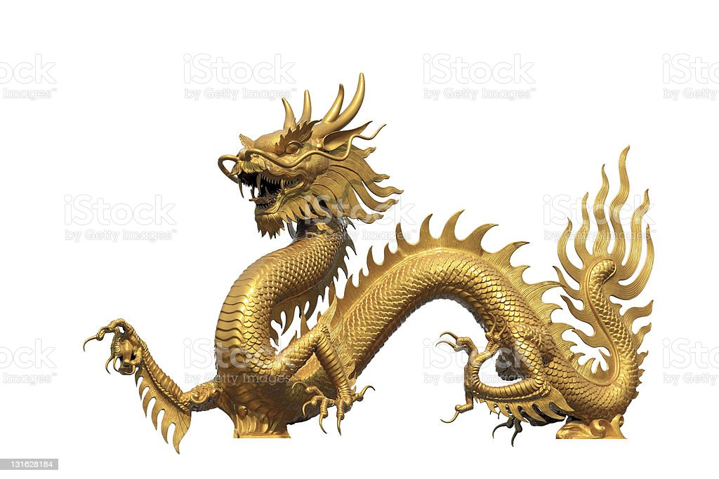 Flaming gold Chinese dragon on white background stock photo