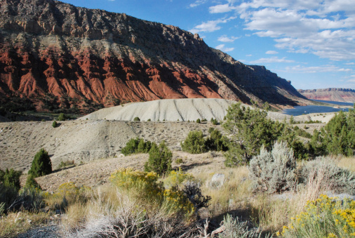 Red rocks and sand dunes of Flaming Gorge National Monument at overlook north of Dutch John near Utah/Wyoming state line