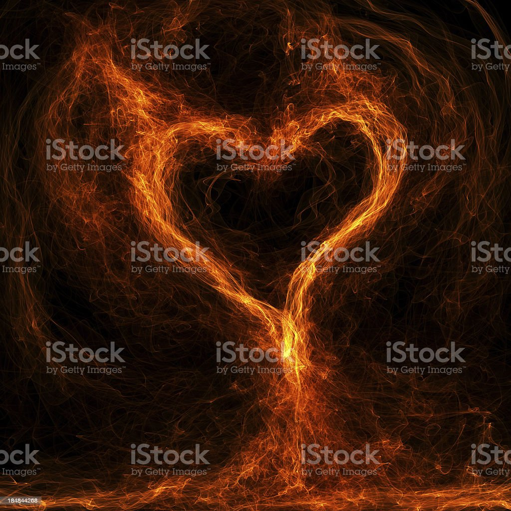 Flaming heart inferno royalty-free stock photo