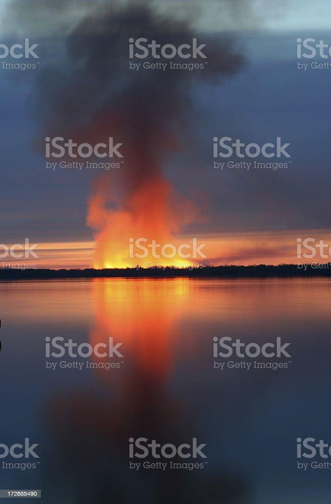 Flaming Lake stock photo