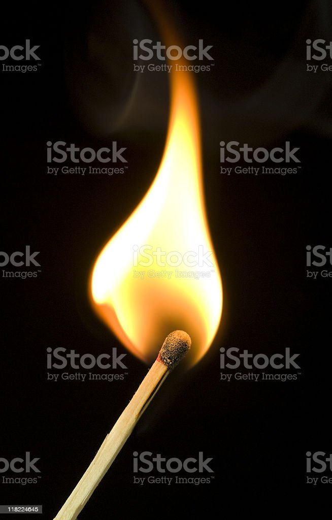 Flaming match stock photo