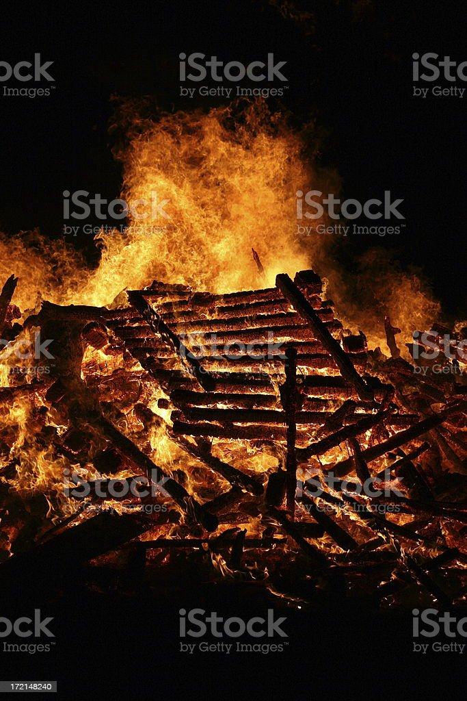 Flaming Pallets royalty-free stock photo