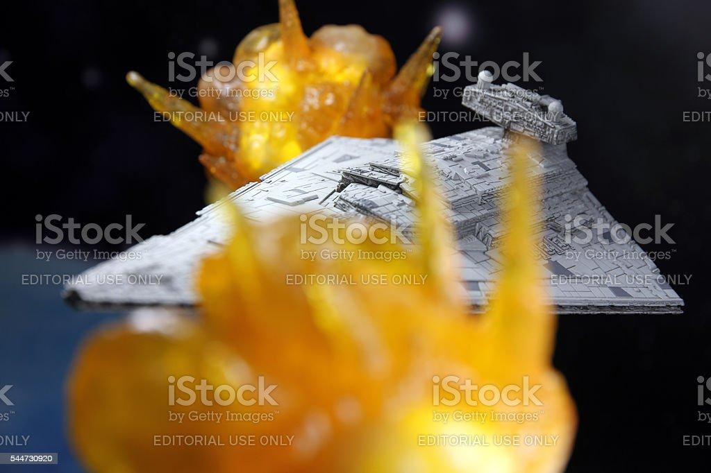 Flaming Ship stock photo