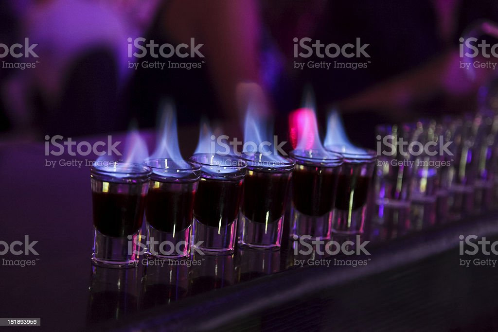 Flaming shots stock photo