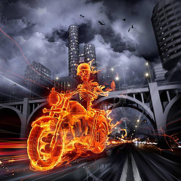 Flaming skeleton motorcycle rider in a dark urban landscape stock photo