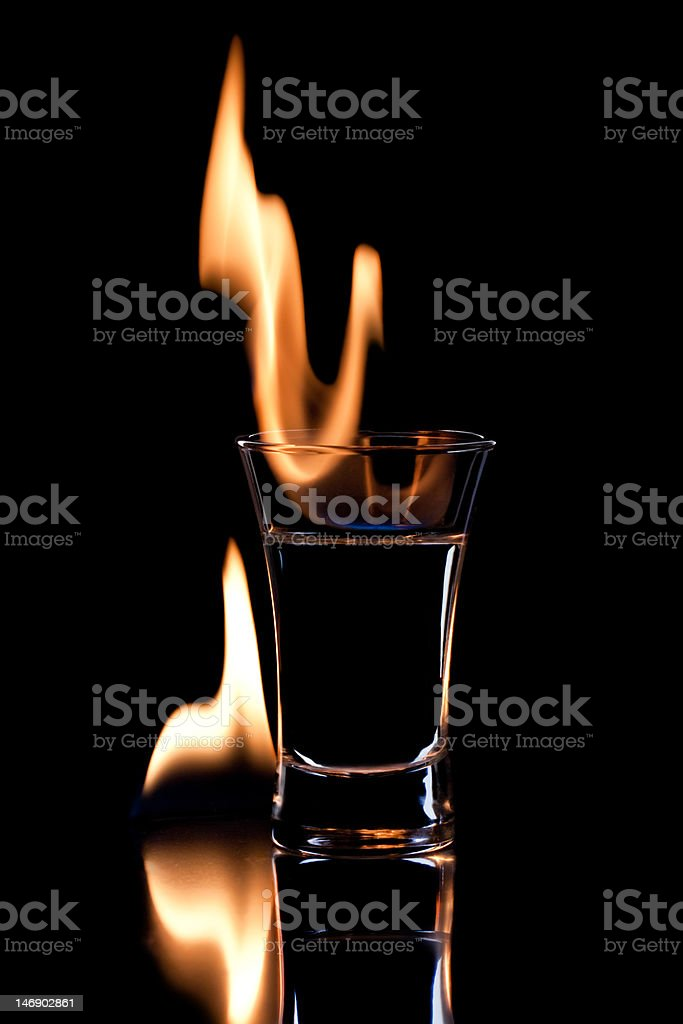 Flaming vodca stock photo