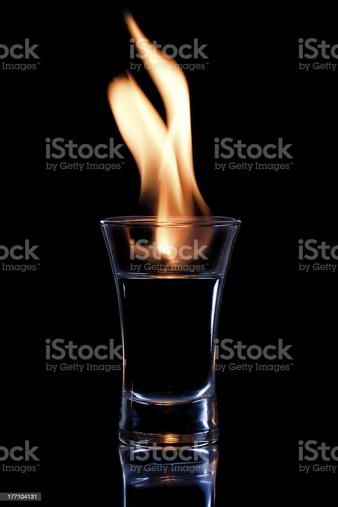 Flaming vodka royalty-free stock photo