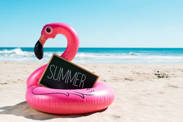flamingo swim ring on the beach and text summer stock photo