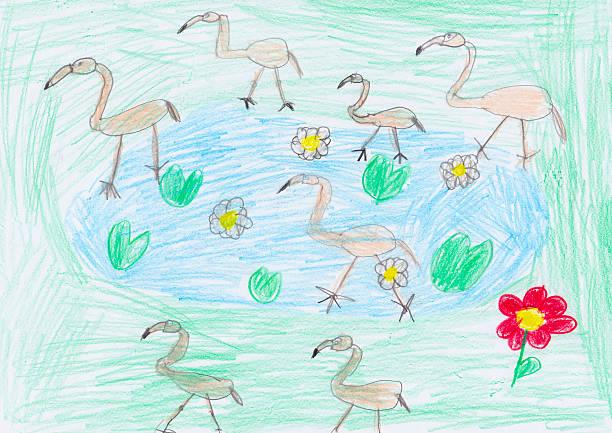 flamingoes - animal doodle bildbanksfoton och bilder