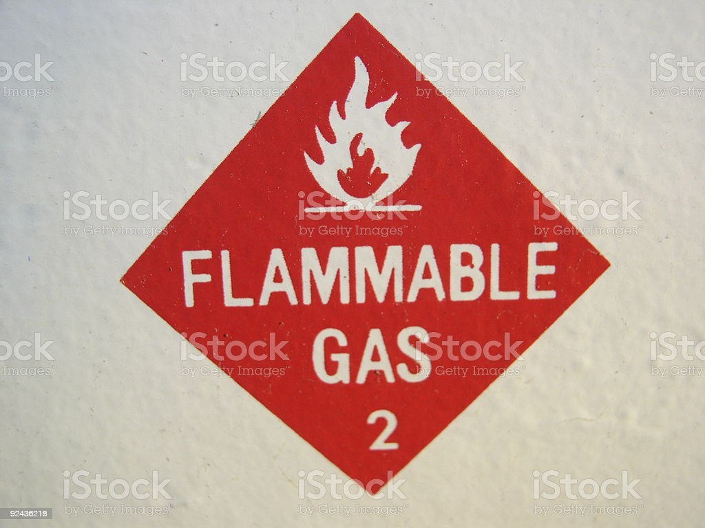 Flammable Gas 2 warning stock photo