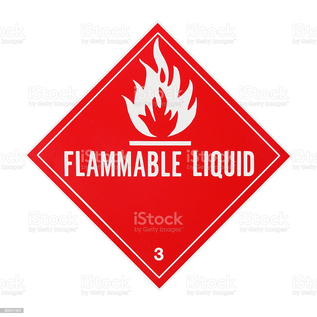 Flammable Liquid Placard stock photo