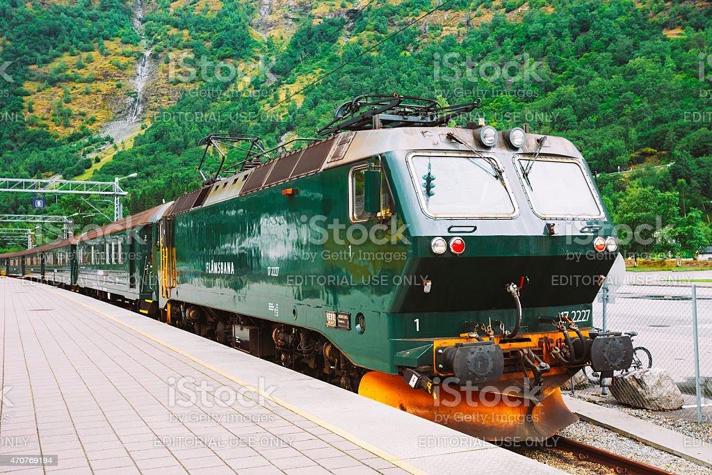 Flamsbahn In Flam, Norway. Green Train On Railway stock photo