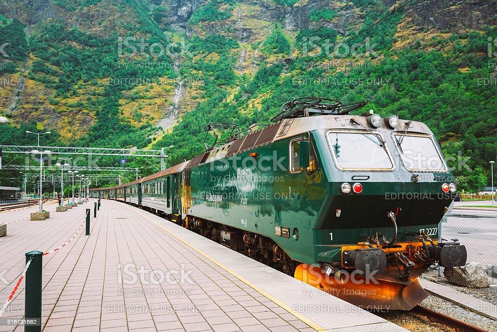 Flamsbahn In Flam, Norway. Norwegian Train On Railway. Famous Ra stock photo