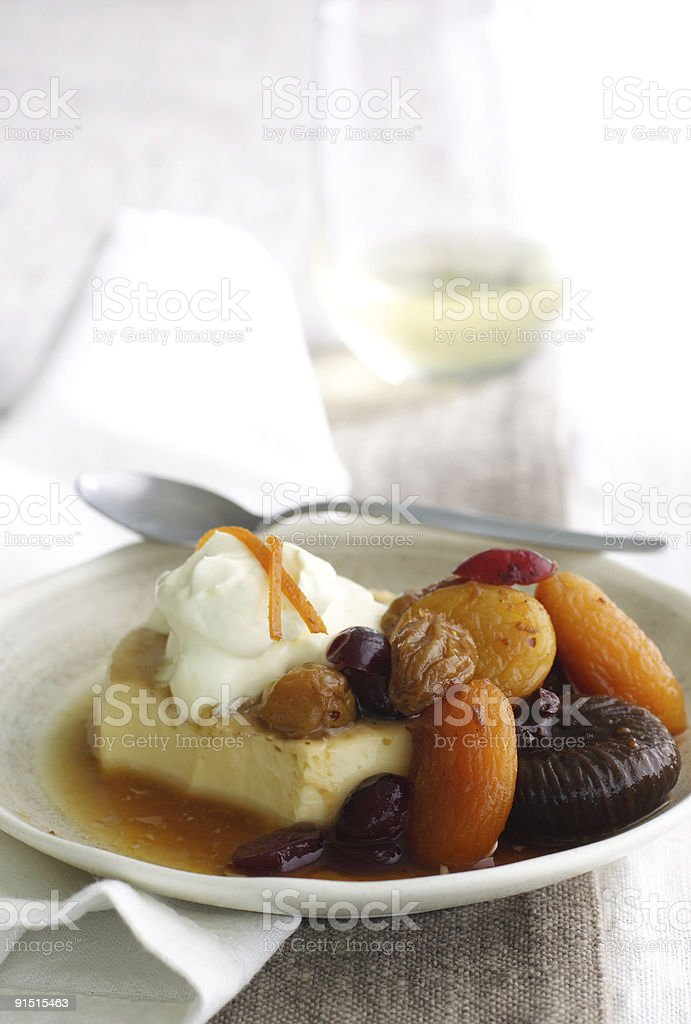 flan with dried fruit compote royalty-free stock photo