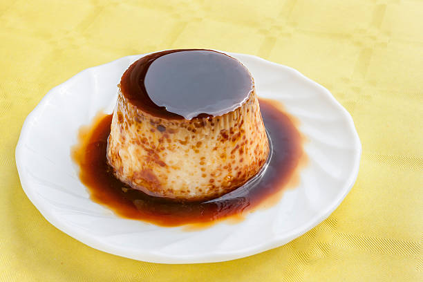 Flan with syrup stock photo