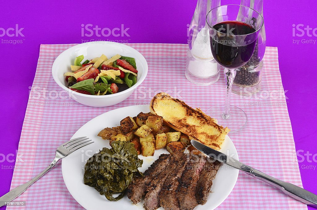 Flank Steak and Turnip Greens royalty-free stock photo