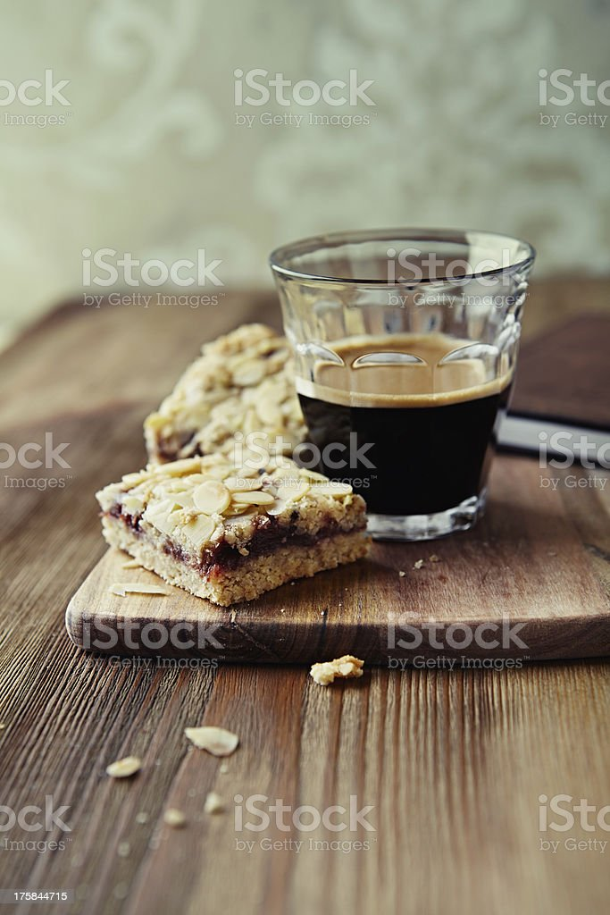 Flapjack with a glass of espresso royalty-free stock photo