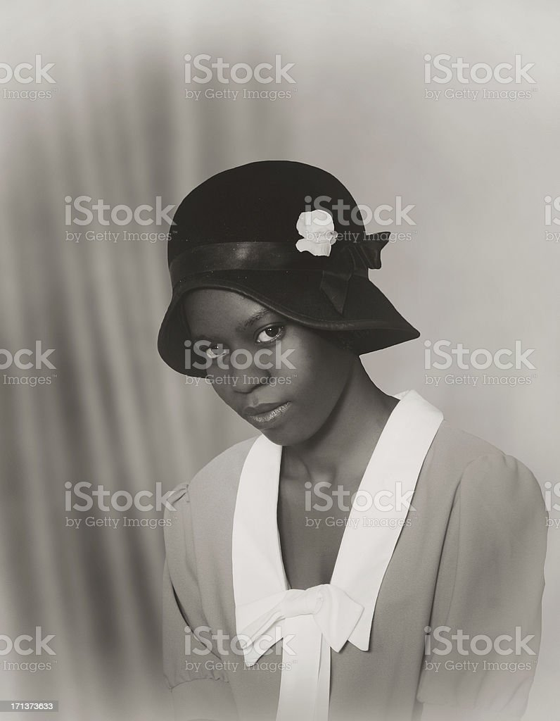 Flapper girl. Female portrait stock photo