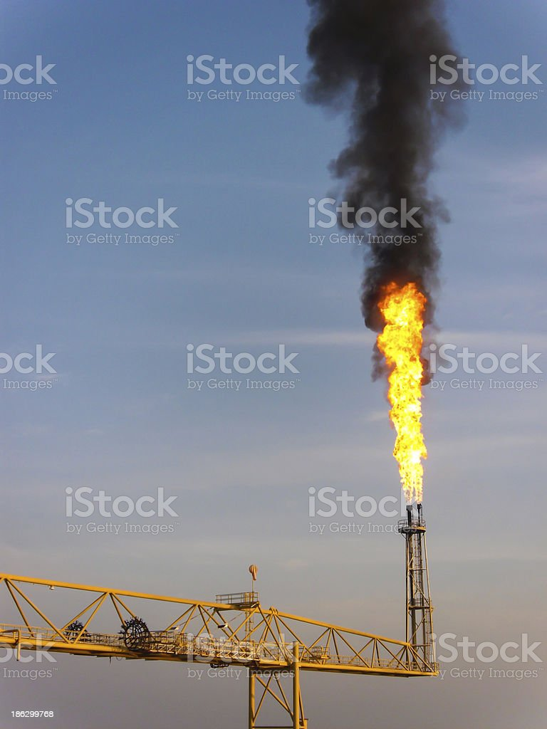 Flare station in oil and gas construction royalty-free stock photo