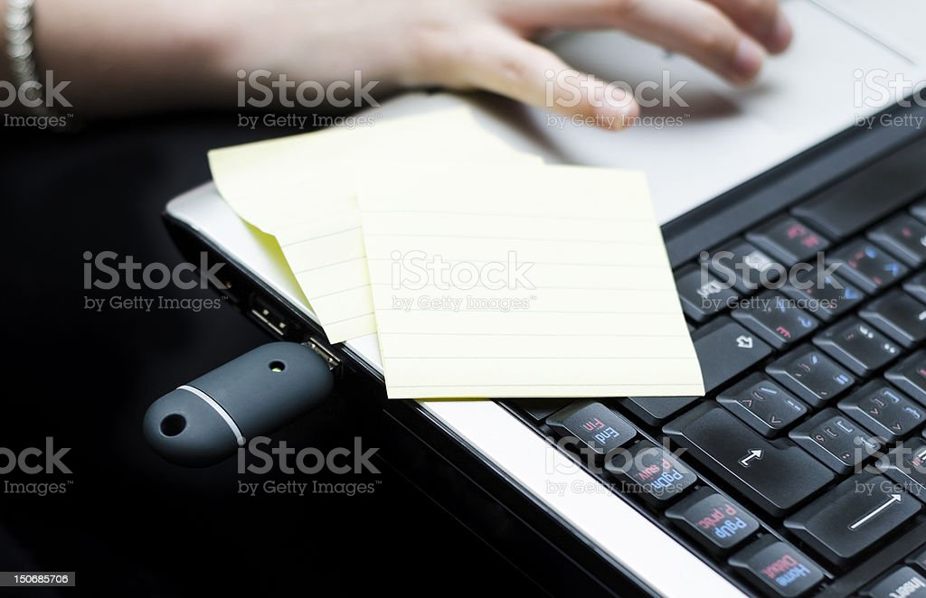 Flash Drive And Laptop royalty-free stock photo