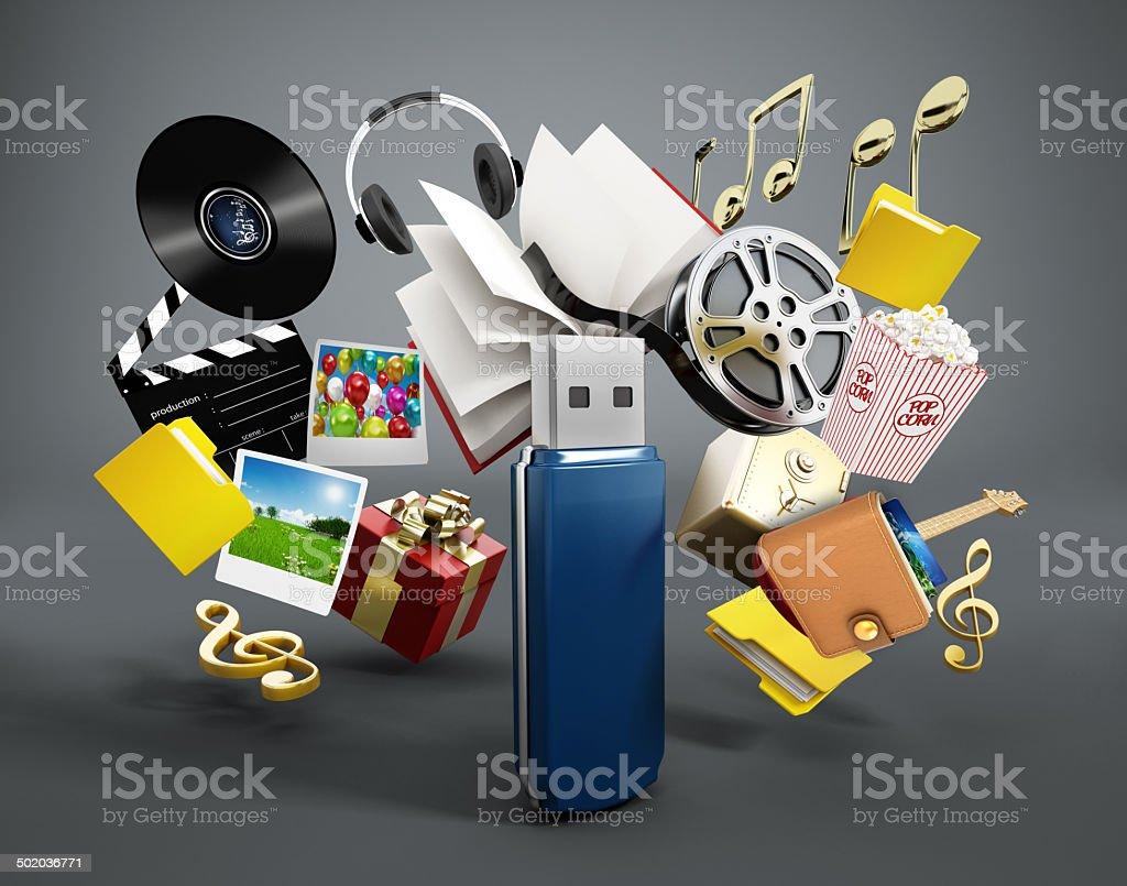 USB flash drive contents stock photo