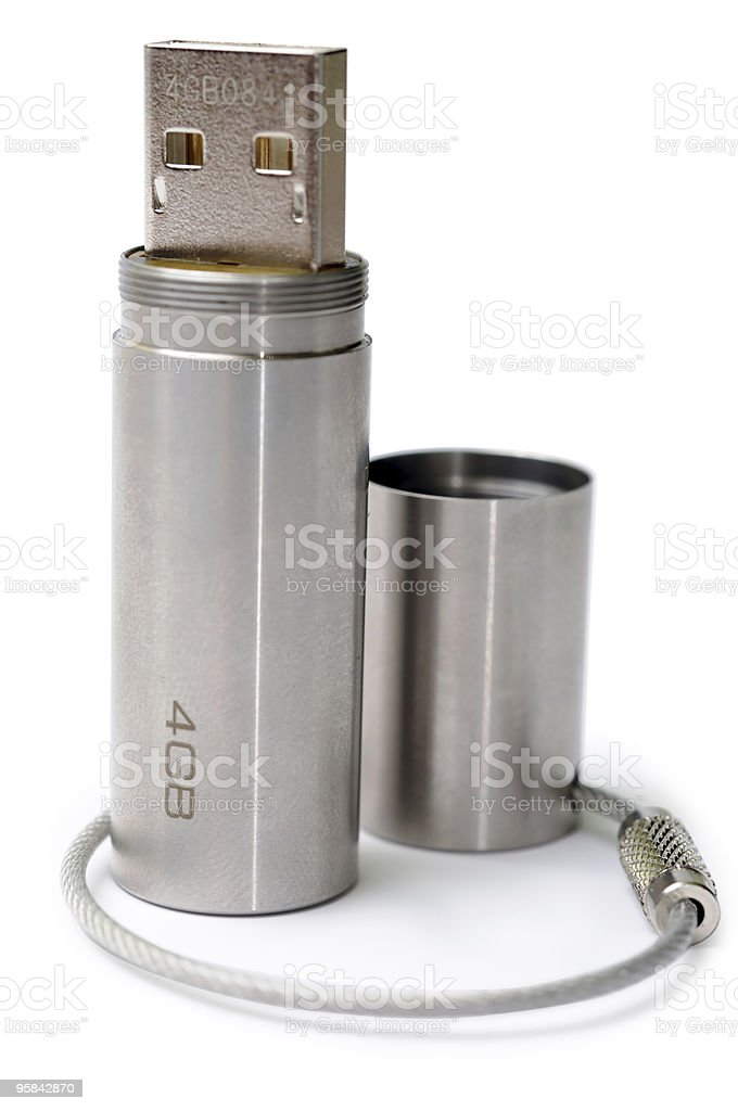 USB Flash Drive from Stainless Steel stock photo