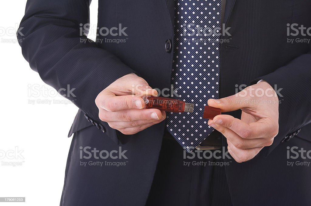 USB flash drive in Businessman hands. royalty-free stock photo