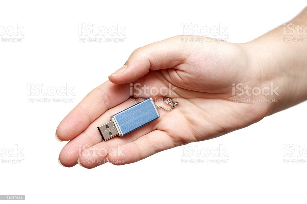 USB Flash Drive in hand royalty-free stock photo