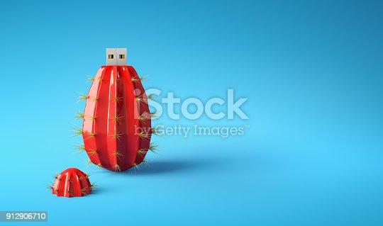 istock Flash drive usb pen safe data design on blue background 912906710
