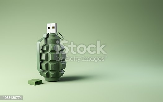 istock Flash drive usb pen safe data design on gray green background. 1068439774
