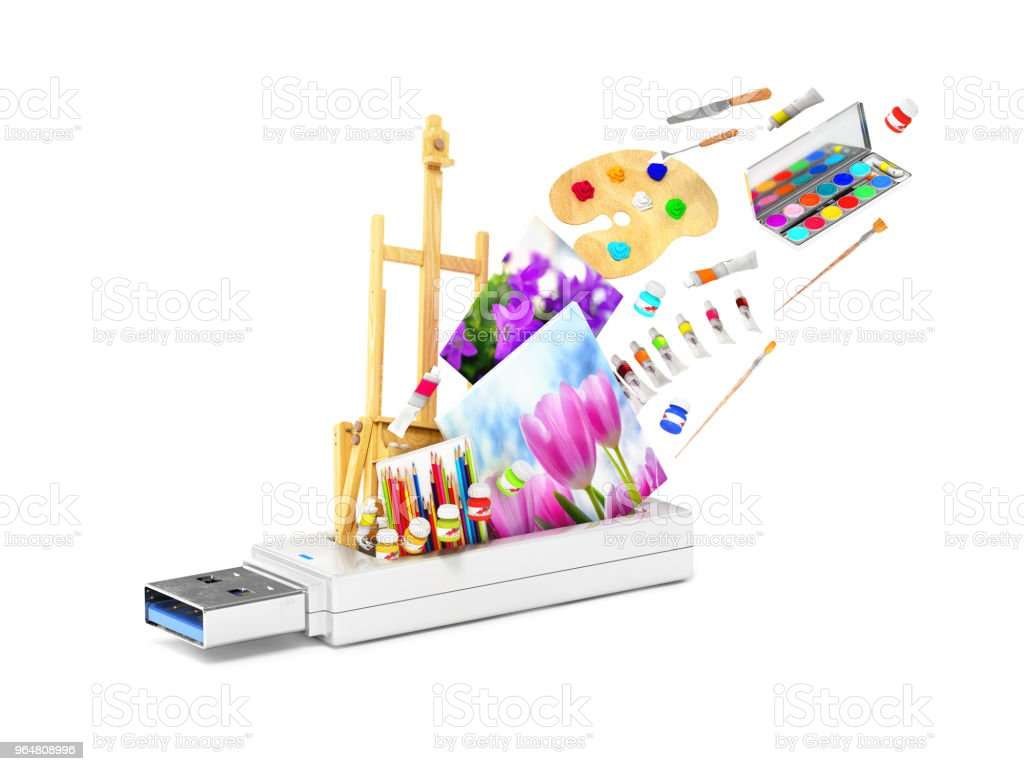 USB flash drive with easel, paints and shutters.3d illustration royalty-free stock photo