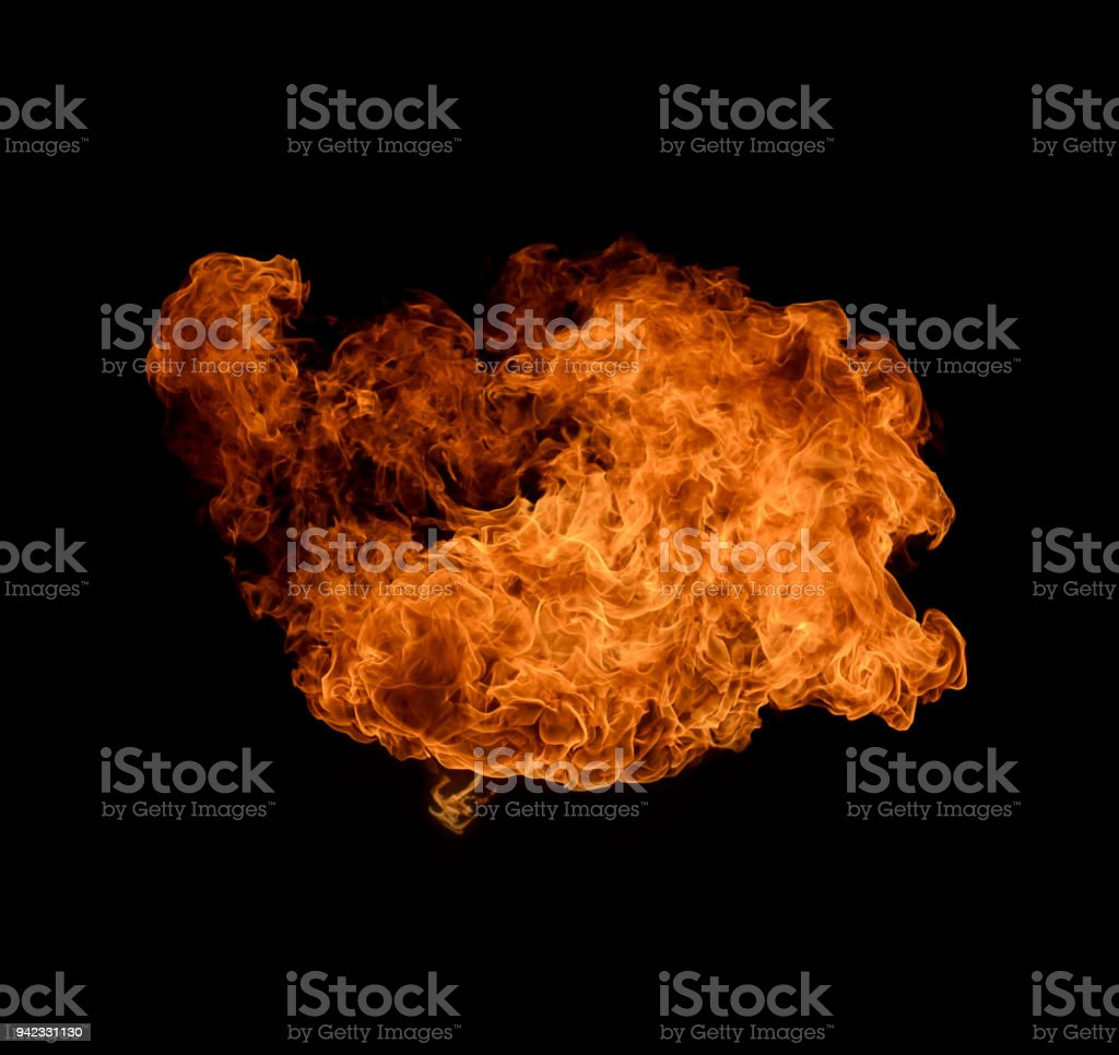 Flash Fire On A Black Background Stock Photo - Download