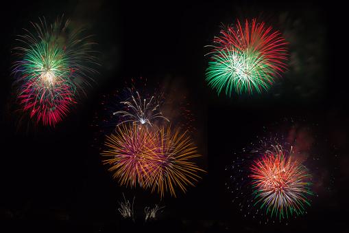 istock Flash fireworks on black 542291970