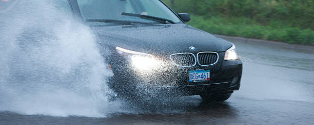 Flash flooding and difficult driving. stock photo