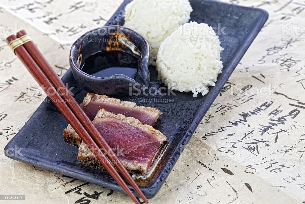Flash Grilled Ahi and Rice royalty-free stock photo