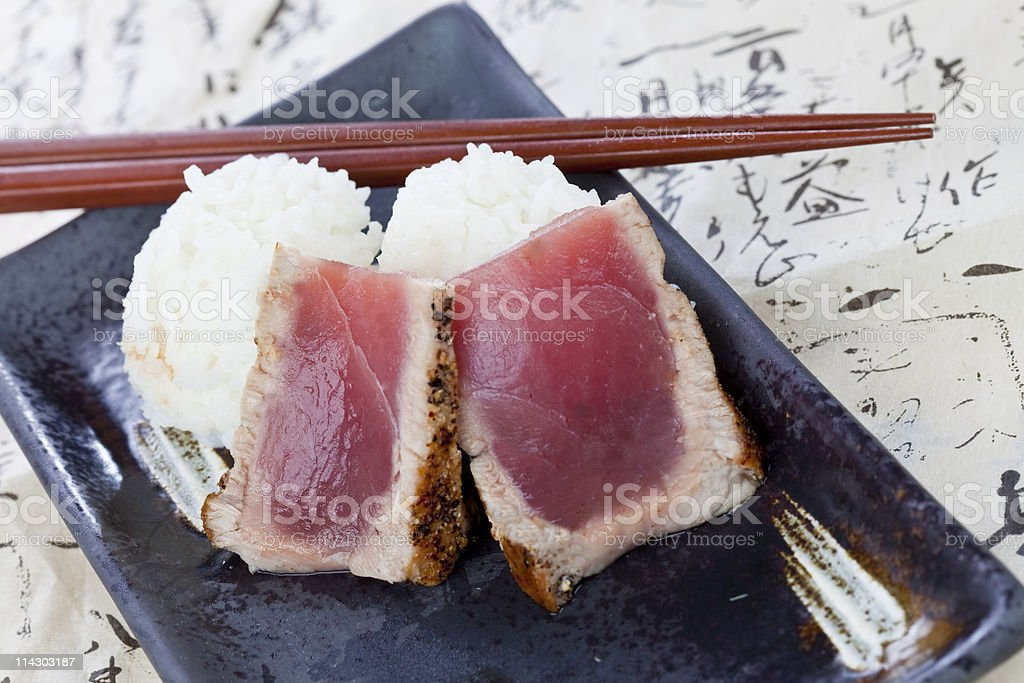 Flash Grilled Ahi with Rice royalty-free stock photo