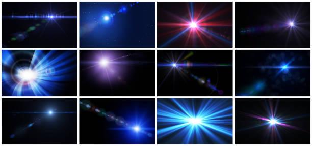 flaş ışığı ve lens flare koleksiyonu - flaş stok fotoğraflar ve resimler